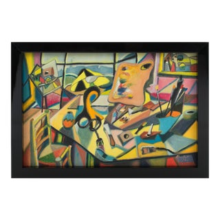 The Painter's Studio Colorful Post-Cubist Oil Painting by A. Rigollot For Sale
