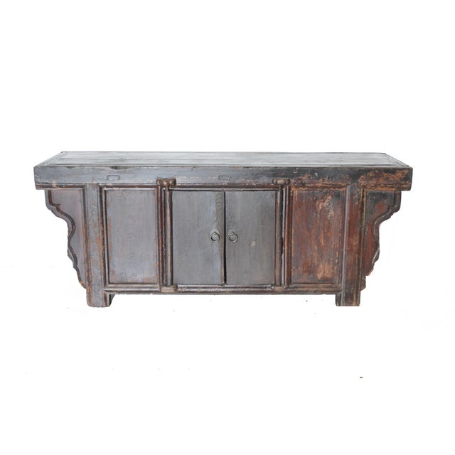 Vintage Rustic Chinese Low Media Cabinet For Sale - Image 10 of 10