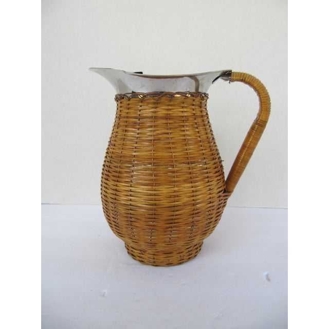 Vintage Water Pitcher Wrapped in Wicker For Sale - Image 6 of 6