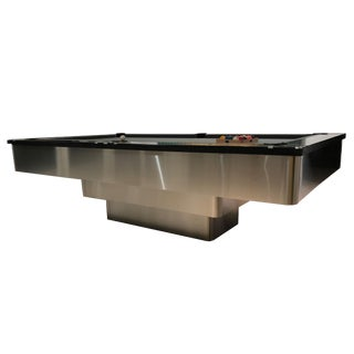 Stainless Steel Modern Pedestal Pool Table For Sale