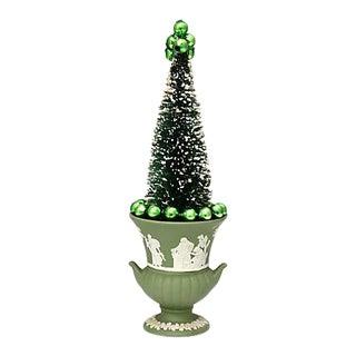 Vintage Mid-Century Bottle Brush Tree W/ Wedgwood Japerware Pot For Sale