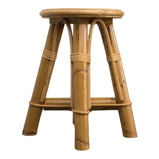 Modern Bamboo and Rattan Stool For Sale