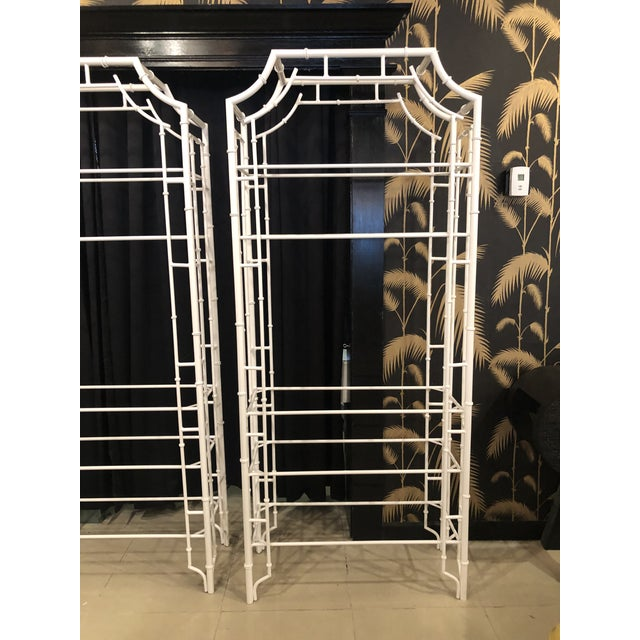 Vintage Chinese Chippendale Newly White Powder-Coated Faux Bamboo Pagoda Metal Shelves Etageres -A Pair For Sale - Image 4 of 13