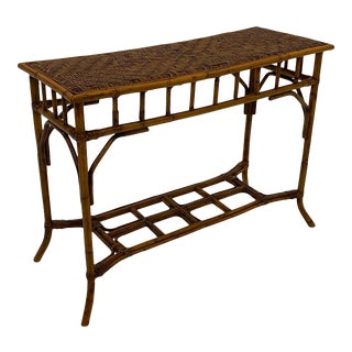 Organic Modern Bamboo and Rattan Console For Sale