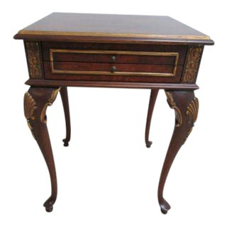 Maitland Smith Carved French Regency Flamed Burlwood Table