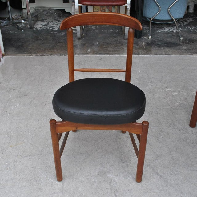 Brown 1960s Vintage Greta Grossman Teak Expandable Dining Table and Chairs - 5 Pieces For Sale - Image 8 of 12