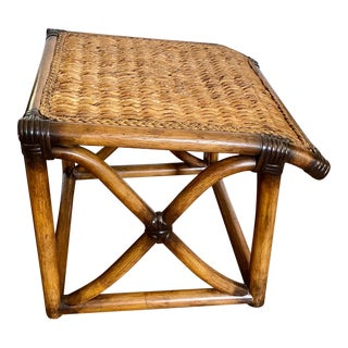 Brown Bamboo Rattan and Seagrass Vintage Tropical Palm Beach Boho Chic Footstool For Sale