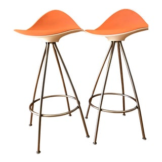 Onda Orange Counter Stools - A Pair For Sale