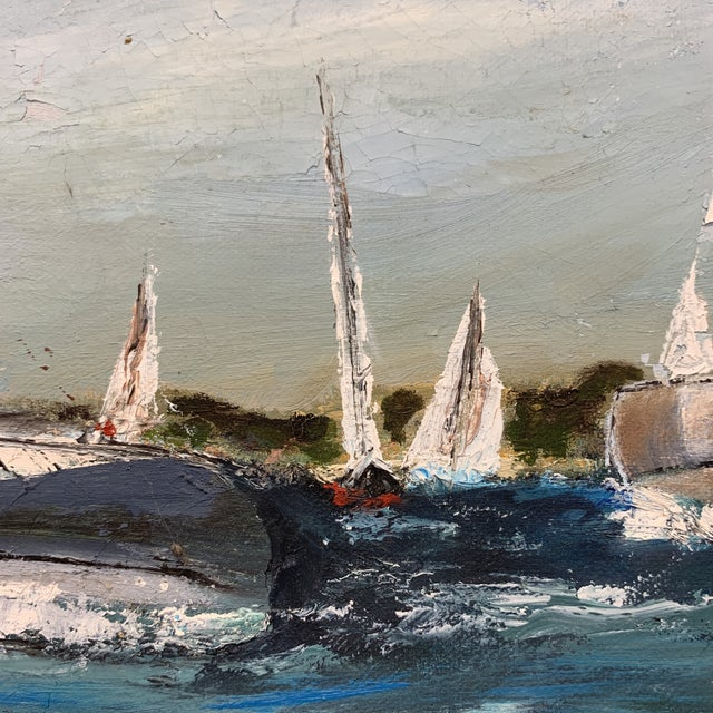 Antique Sailboat Painting Framed For Sale - Image 6 of 13