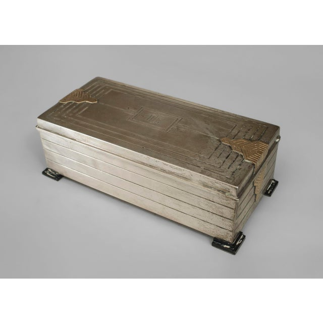 Art Deco English Art Deco Sterling Silver Rectangular Box For Sale - Image 3 of 3
