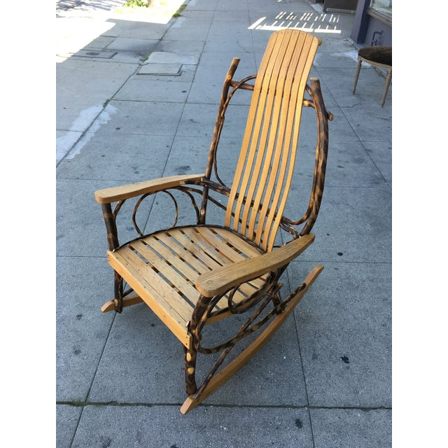 Rustic Late 20th Century Rustic Adirondack Oak and Hickory Twig Rocking Chair For Sale - Image 3 of 11