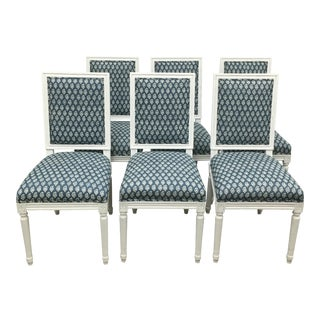 White French Style Dining Chairs in Batik Fabric - Set of 6 For Sale