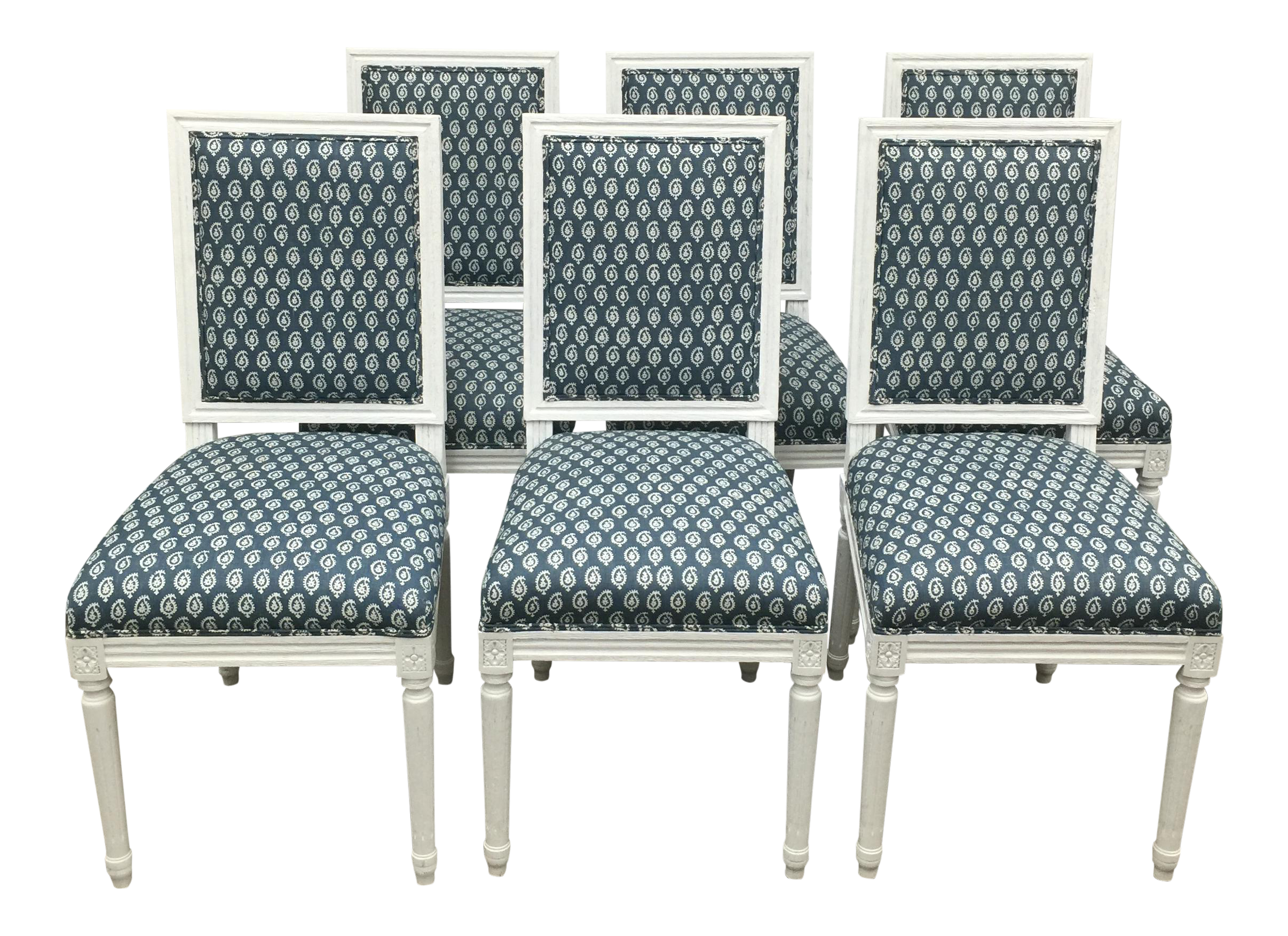 White French Style Dining Chairs In Batik Fabric   Set Of 6