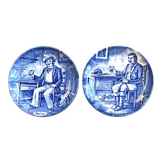 English Blue & White Staffordshire Butter Pats - the Sailor & the Huntsman - a Pair For Sale