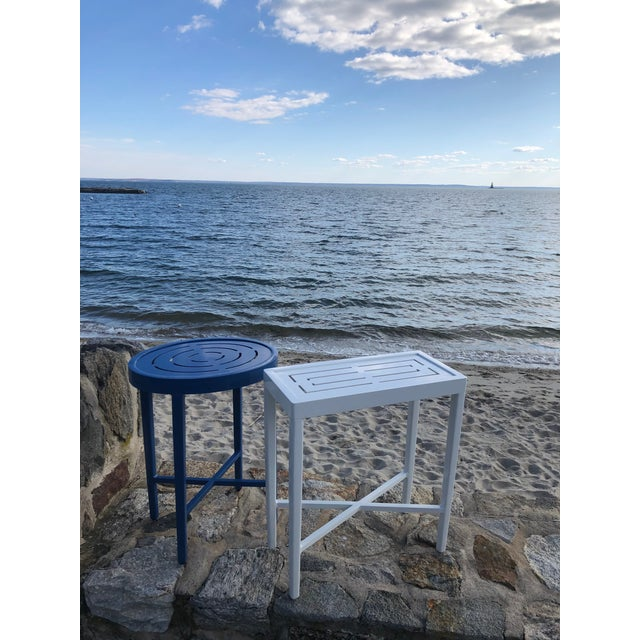 Oomph Oomph On the Rocks Rectangle Outdoor Side Table, Blue For Sale - Image 4 of 7