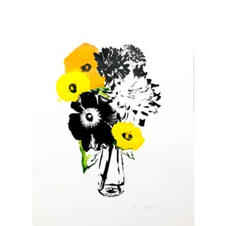 """Yellow Splash"" Contemporary Botanical Mixed-Media Screenprint by Rosha Nutt For Sale"