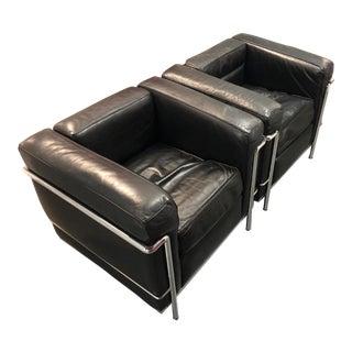 1990s Vintage Le Corbusier Set of Black Armchairs- A Pair For Sale
