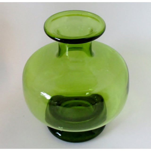 Danish Modern Holmegaard Green Glass Vase For Sale - Image 3 of 6