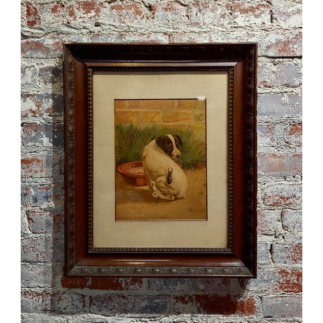 """Late 19th Century Antique Edmund Caldwell """"Jack Russel Puppy With A Stag Beetle"""" Painting For Sale - Image 9 of 9"""