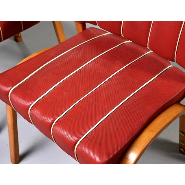 1950s Italian Mid Century Bentwood Dining Chairs With Original Red Vinyl Upholstery - Set of 6 For Sale - Image 5 of 13