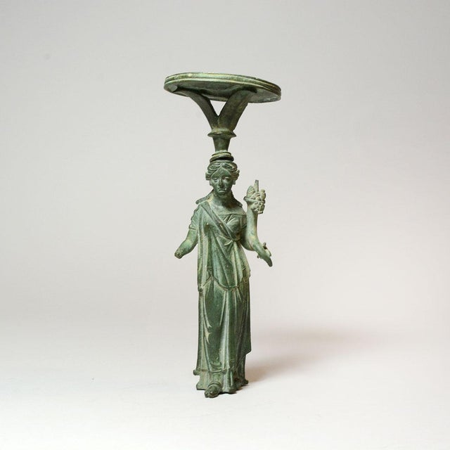 Roman Bronze Lamp Stand Depicting the Goddess Fortuna For Sale In Los Angeles - Image 6 of 6