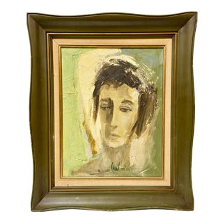 1940s German Expressionism Oil Portrait by Peter Calmes For Sale