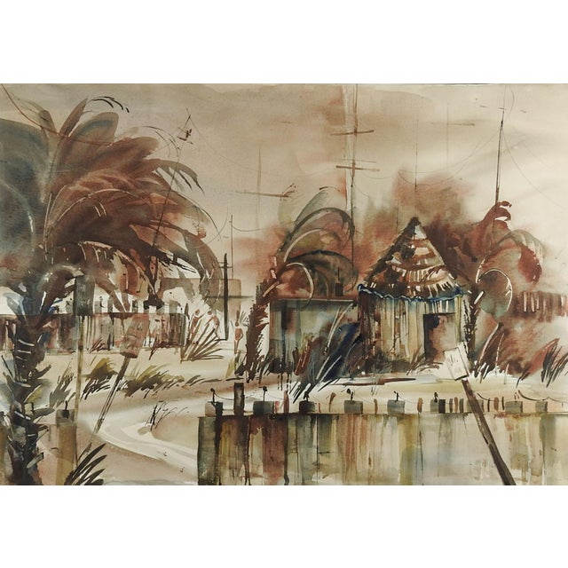 Florida Beach Shack by Dianne Curington Watercolor Painting For Sale - Image 4 of 4