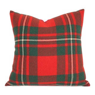Red & Green Striped Plaid Pillow For Sale
