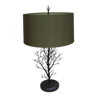 Vintage Currey & Co. Faux Bois Arbor Tree Branch Table Lamp For Sale