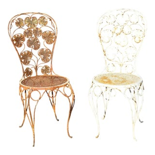 Antique French Art Nouveau Flower Maple Leaf Wrought Iron Garden Chairs - a Pair For Sale