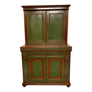 19th-C. French Painted Grain Cabinet For Sale
