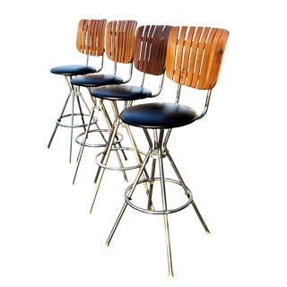 Mid Century Modern Umanoff Style Slat Back Swivel Bar Stools -Set of 4 For Sale