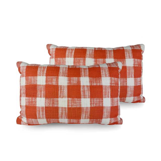 2010s French Country Red White Gingham Pattern Cotton Throw/Toss Pillows - Set of 2 For Sale - Image 5 of 5