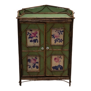 19th Century Green Painted Cottage Cabinet For Sale