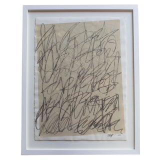 Large Framed Abstract Charcoal Painting