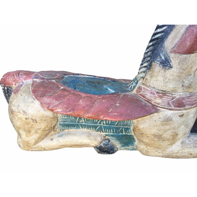 Eggshell Antique Indian / Rajasthani Hand Carved Wooden Horse For Sale - Image 8 of 13