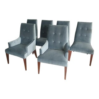 Mid-Century Modern Henredon Furniture Barbara Barry Slate Grey Velvet Dining Chairs - Set of 6 For Sale
