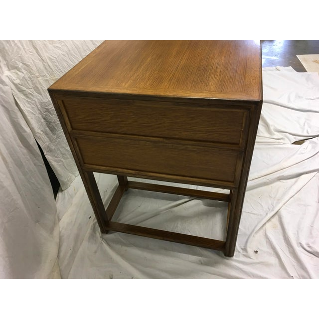 1970s McGuire Oak and Rattan Desk For Sale - Image 5 of 10