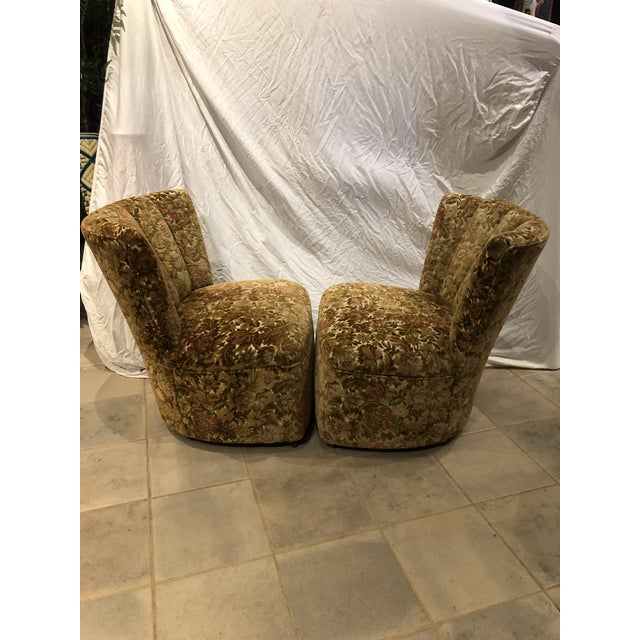 1960s Vintage Velvet Slipper Chairs - a Pair For Sale In Portland, OR - Image 6 of 9
