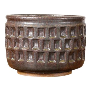 Christian Boehr Ceramic Stoneware Planter — Large Weave Pattern — Dark Green Glaze— P12 For Sale