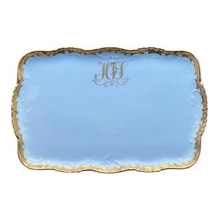 Antique T & V Limoges Gilt Edged Porcelain Dresser Tray For Sale