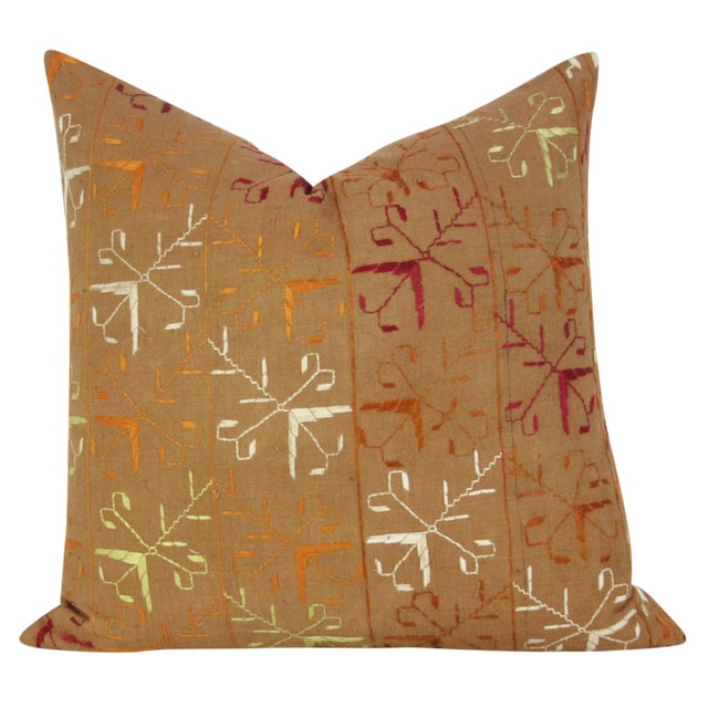 Light Brown Bagh Phulkari Pillow For Sale
