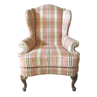 Queen Anne Wingback Chair in Peach Pink Plaid Upholstery and Coral Velvet Check Throw Pillows For Sale