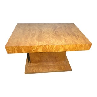 1990s Art Deco Style Gold Veneer Coffee Table For Sale