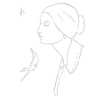 """Sarah Myers """"Lady With a Swallow"""" Modern Line Drawing For Sale"""