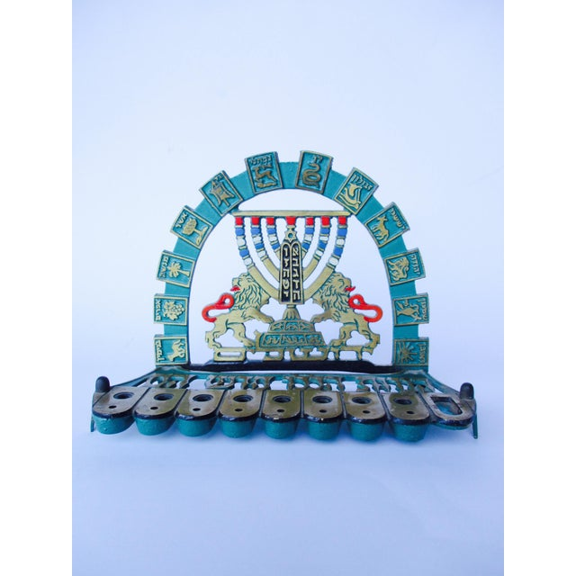 Vintage Bronze & Brass Oil Menorah - Image 2 of 9