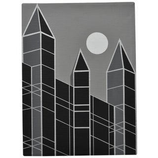 1989 Charles Hersey Vintage Op Art Cityscape For Sale