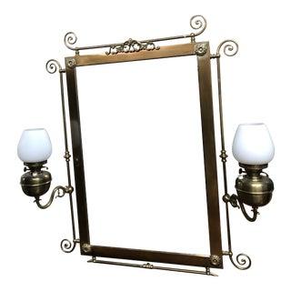 Art Nouveau Brass Beveled Mirror For Sale