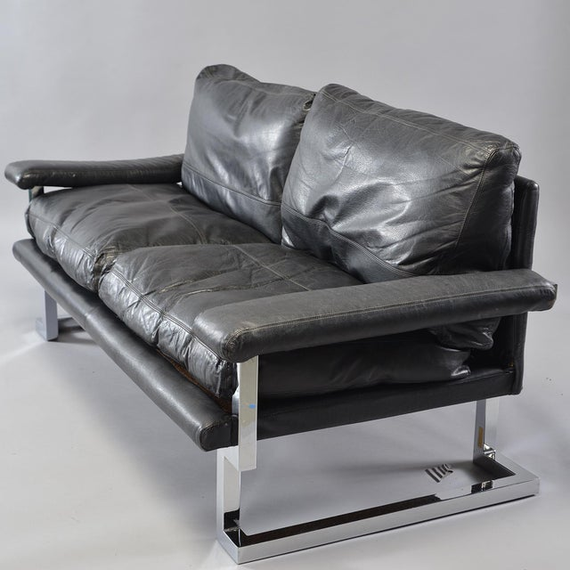 Black Leather and Chrome Sofas by Tim Bates for Pieff & Co. - a Pair For Sale - Image 9 of 13