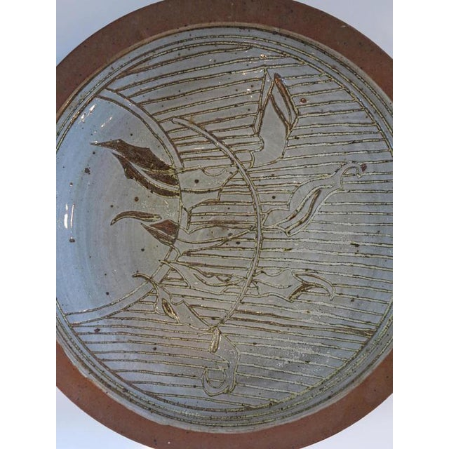 David Westmeier 1970s David Westmeier Naturalistic Branch and Leaf Design Stoneware Pottery Ceramic Plate For Sale - Image 4 of 6